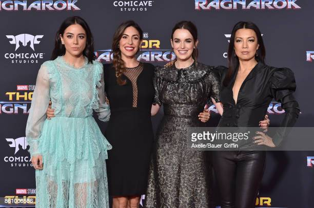 Actors Chloe Bennet Natalia CordovaBuckley Elizabeth Henstridge and MingNa Wen arrive at the premiere of Disney and Marvel's 'Thor Ragnarok' at the...