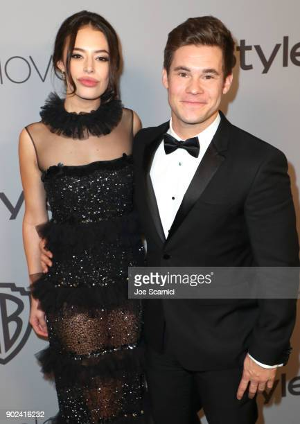 Actors Chloe Bridges and Adam DeVine attend the 2018 InStyle and Warner Bros 75th Annual Golden Globe Awards PostParty at The Beverly Hilton Hotel on...