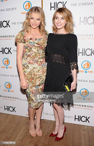 Actors Chloe Grace Moretz and Emma Roberts attend the Cinema Society Phase 4 Films screening of Hick at the Crosby Street Hotel on May 3 2012 in New...