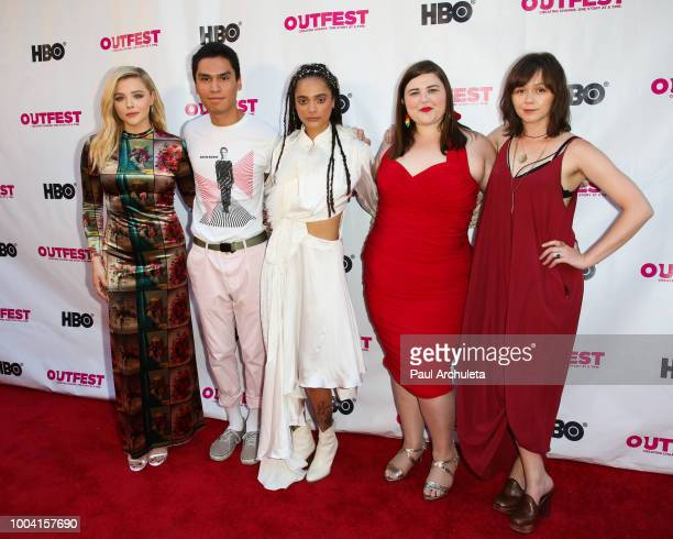 Actors Chloe Grace Moretz Forrest Goodluck Sasha Lane Melanie Ehrlich and Emily Skeggs attend the 2018 Outfest Los Angeles LGBT Film Festival closing...