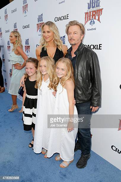 Actors Chloe Guidry Brittany Daniel Allison Gobuzzi David Spade and Lauren Gobuzzi attend the world premiere of Crackle's Joe Dirt 2 Beautiful Loser...