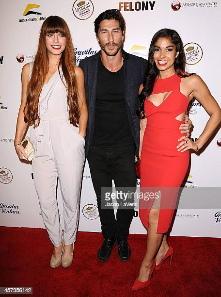 Actors Chloe Hurst Ryan Porter and Sarah Roberts attend the premiere of 'Felony' at Harmony Gold Theatre on October 16 2014 in Los Angeles California