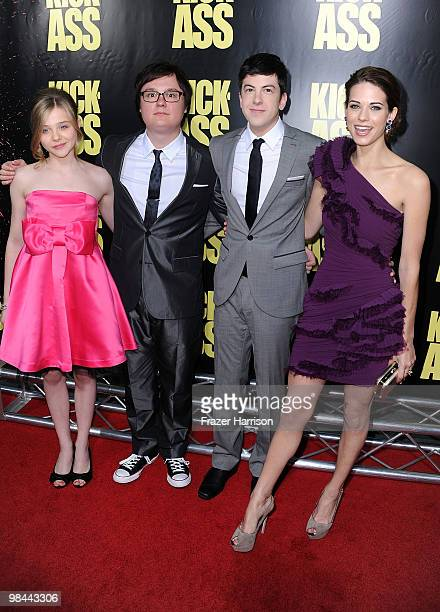Actors Chloe Moretz Clark Duke Christopher MintzPlasse and Lyndsy Fonseca arrive at the premiere of Lionsgate's KickAss held at The Cinerama Dome at...