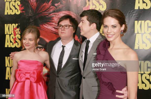 Actors Chloe Moretz Clark Duke Christopher MintzPlasse and Lyndsy Fonseca arrive to the Los Angeles premiere of 'KICKASS' at the Cinerama Dome on...