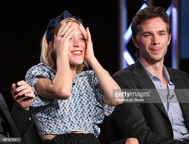 Actors Chloe Sevigny and James D'Arcy speak onstage during the 'Lifetime - Those Who Kill' panel discussion at the Lifetime/A&E Network' portion of...