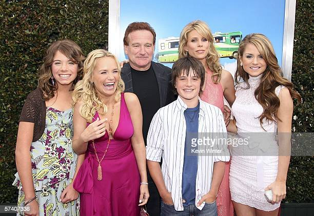 Actors Chloe Sonnenfeld Kristin Chenoweth Robin Williams Josh Hutcherson Cheryl Hines and Jo Jo Levesque pose at the premiere of Columbia Picture's...