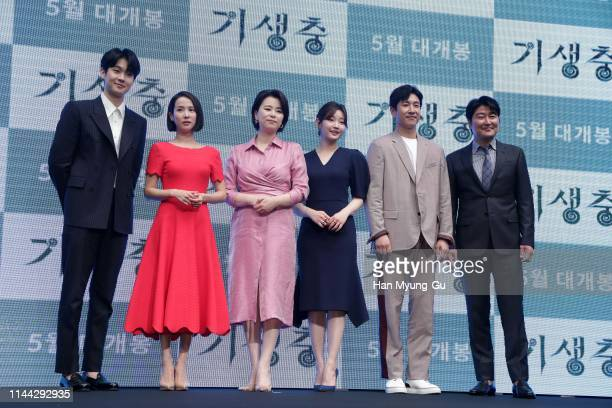 Actors Choi WooShik Cho YeoJeong Jang HyeJin Park SoDam Lee SunKyun and Song KangHo attend the press conference for 'Parasite' on April 22 2019 in...