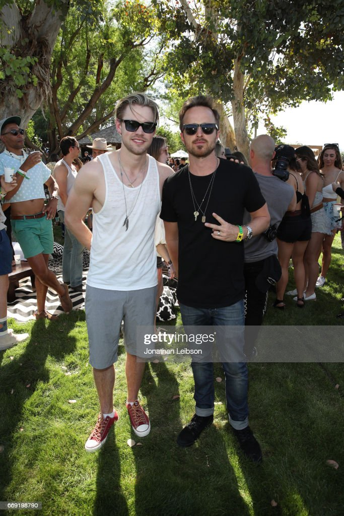 Actors Chord Overstreet and Aaron Paul attend The Hyde Away, hosted by Republic Records & SBE, presented by Hudson and bareMinerals during Coachella on April 15, 2017 in Thermal, California.