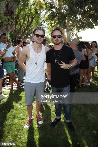 Actors Chord Overstreet and Aaron Paul attend The Hyde Away hosted by Republic Records SBE presented by Hudson and bareMinerals during Coachella on...
