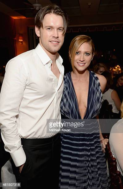 Actors Chord Overstreet and Brittany Snow attend ELLE's Annual Women in Television Celebration on January 13 2015 at Sunset Tower in West Hollywood...
