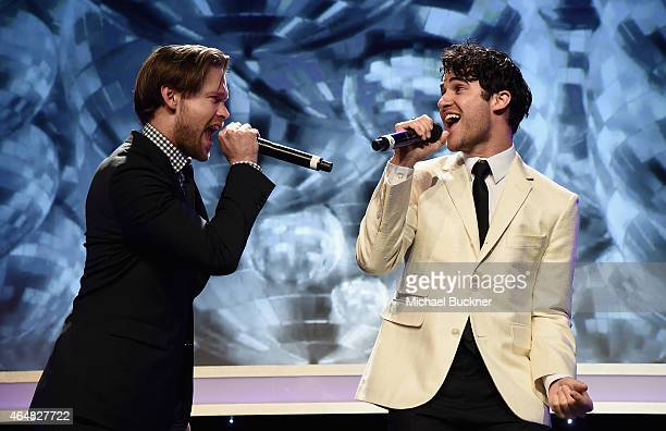 Actors Chord Overstreet and Darren Criss perform onstage during the Family Equality Council's 2015 Los Angeles Awards dinner at The Beverly Hilton...
