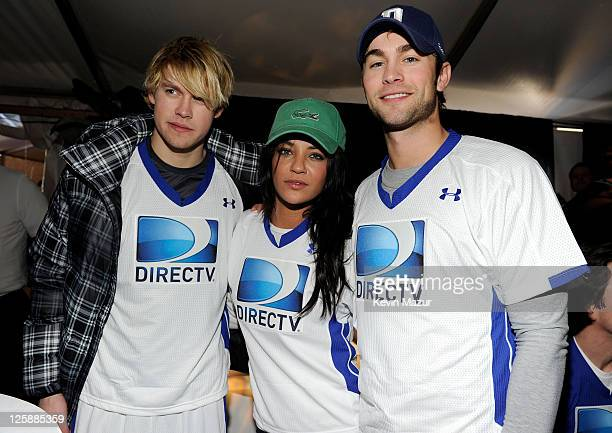 Actors Chord Overstreet Jessica Szohr and Chace Crawford attend DIRECTV's Fifth Annual Celebrity Beach Bowl at Victory Park on February 5 2011 in...