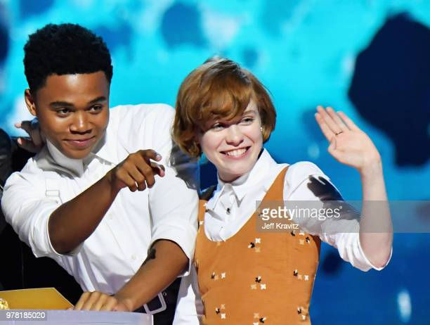 Actors Chosen Jacobs and Sophia Lillis attend the 2018 MTV Movie And TV Awards at Barker Hangar on June 16 2018 in Santa Monica California