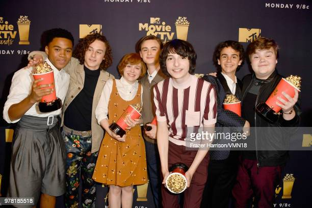 Actors Chosen Jacobs Wyatt Oleff Sophia Lillis Jaeden Lieberher Finn Wolfhard Jack Dylan Grazer and Jeremy Ray Taylor pose with the Best OnScreen...
