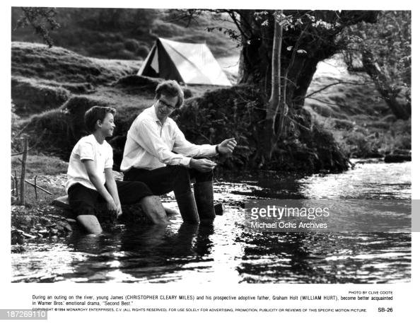 Actors Chris Cleary Miles and William Hurt on set of the