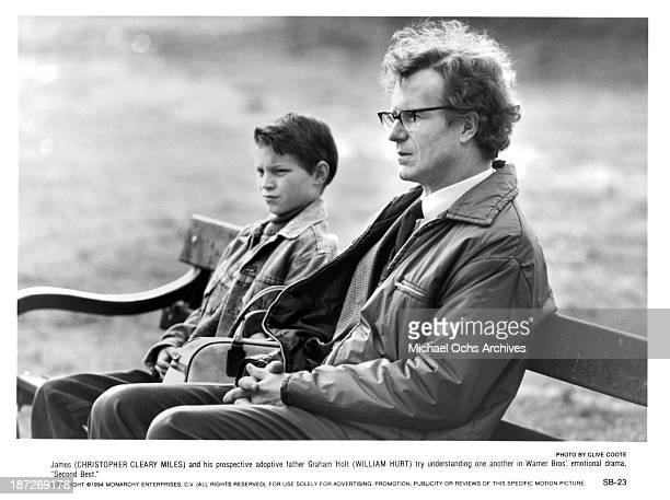 Actors Chris Cleary Miles and William Hurt on set of the Warner Bros movie 'Second Best' in 1994