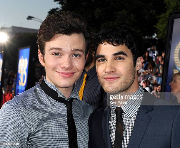 Actors Chris Colfer and Darren Criss arrive at the premiere of Twentieth Century Fox's Glee The 3D Concert Movie held at the Regency Village Theater...