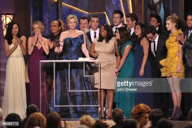 Actors Chris Colfer Matthew Morrison Iqbal Theba Kevin McHale Jessalyn Gilsig Lea Michele Jayma Mays Jenna Ushkowitz Amber Riley Dianna Agron Naya...