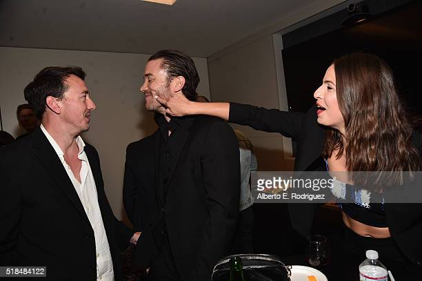Actors Chris Coy Tom Pelphrey and Ana Ayora attend the after party for the premiere of Cinemax's 'Banshee' 4th Season at UTA on March 31 2016 in...