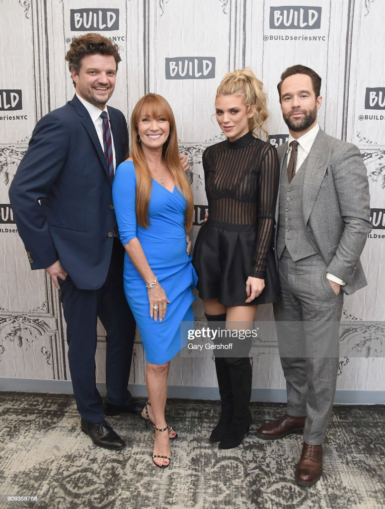 Actors Chris Diamantopoulos, Jane Seymour, AnnaLynne McCord and Matt Jones visit Build Series to discuss the TV comedy 'Let's Get Physical' at Build Studio on January 23, 2018 in New York City.