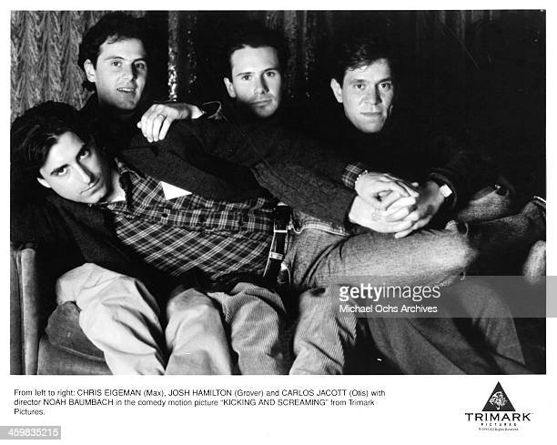 Actors Chris Eigeman Josh Hamilton Carlos Jacott and Noah Baumbach pose on set of the movie 'Kicking and Screaming ' circa 1995