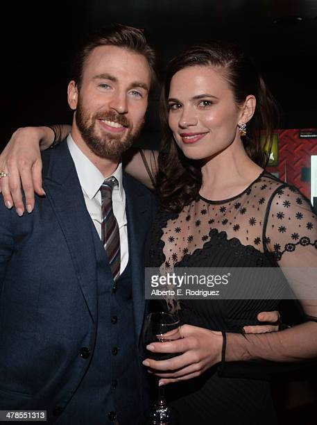 Actors Chris Evans and Hayley Atwell attend the after party for Marvel's Captain America The Winter Soldier premiere at the El Capitan Theatre on...