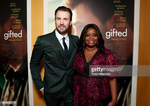Actors Chris Evans and Octavia Spencer attend the Los Angeles Premiere of 'GIFTED' at Pacific Theatres at The Grove on April 4 2017 in Los Angeles...