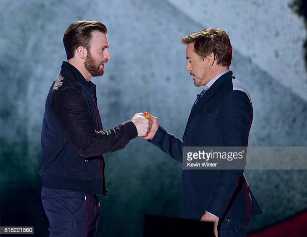 Actors Chris Evans and Robert Downey Jr. Meet onstage during Nickelodeon's 2016 Kids' Choice Awards at The Forum on March 12, 2016 in Inglewood,...
