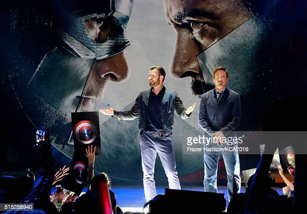 Actors Chris Evans and Robert Downey Jr onstage during Nickelodeon's 2016 Kids' Choice Awards at The Forum on March 12 2016 in Inglewood California