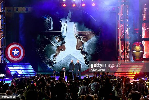 Actors Chris Evans and Robert Downey Jr speak onstage during Nickelodeon's 2016 Kids' Choice Awards at The Forum on March 12 2016 in Inglewood...