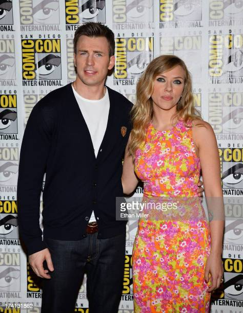 Actors Chris Evans and Scarlett Johansson attend Marvel's 'Captain America The Winter Soldier' during ComicCon International 2013 at the Hilton San...