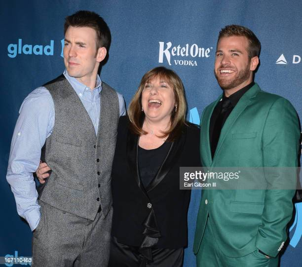 Actors Chris Evans and Scott Evans with mother Lisa Evans arrive at the 24th Annual GLAAD Media Awards at JW Marriott Los Angeles at LA LIVE on April...
