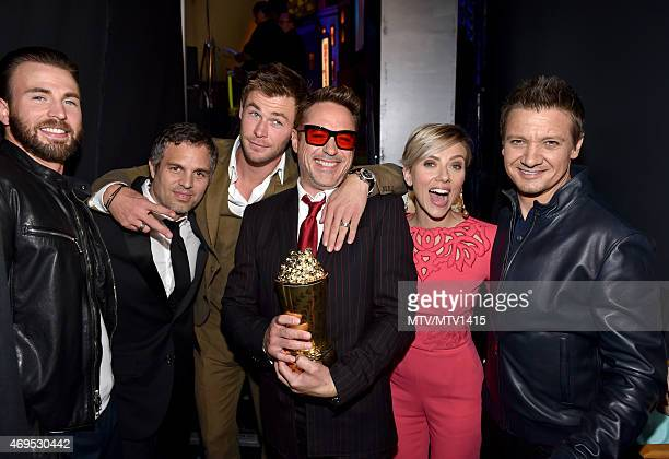 Actors Chris Evans Mark Ruffalo Chris Hemsworth Robert Downey Jr Scarlett Johansson and Jeremy Renner pose backstage at The 2015 MTV Movie Awards at...