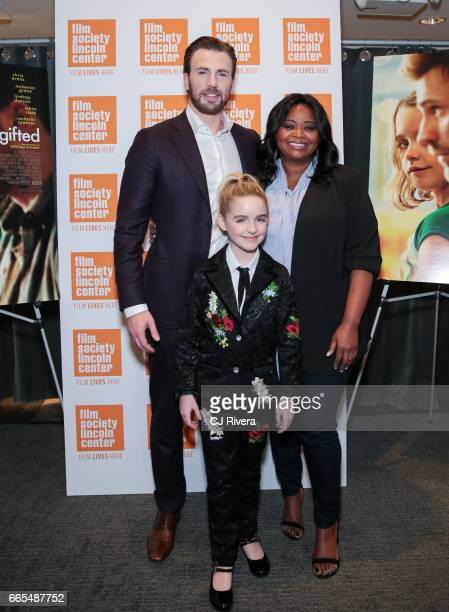 Actors Chris Evans McKenna Grace and Octavia Spencer attend the New York premiere of the film 'Gifted' at the New York Institute of Technology on...