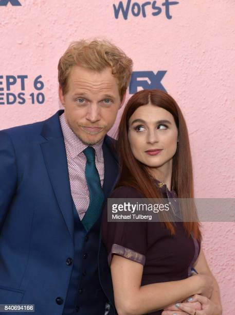 Actors Chris Geere and Aya Cash attend the premiere of Season 4 of FXX's You're The Worst at Museum of Ice Cream LA on August 29 2017 in Los Angeles...