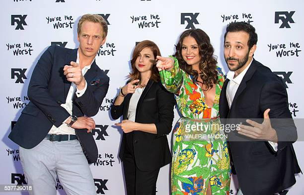 Actors Chris Geere Aya Cash Kether Donohue and Desmin Borges attend You're The Worst Premiere in Hollywood California on June 2 2016 / AFP / VALERIE...