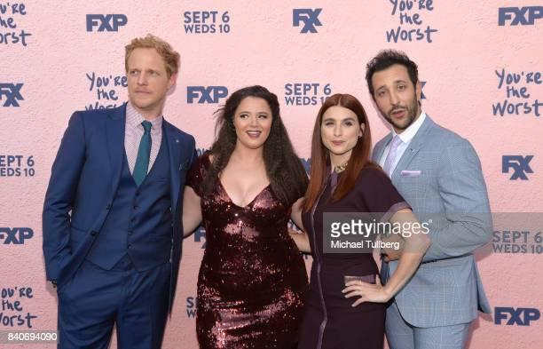 Actors Chris Geere Kether Donohue Aya Cash and Desmin Borges attend the premiere of Season 4 of FXX's 'You're The Worst' at Museum of Ice Cream LA on...