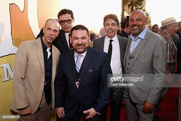 Actors Chris Gibbs Jemaine Clement Paul Moniz de Sa Jonathan Holmes and Daniel Bacon attend Disney's 'The BFG' premiere at the El Capitan Theatre on...