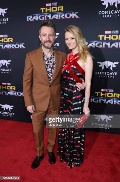 Actors Chris Hardwick and Lydia Hearst at The World Premiere of Marvel Studios' 'Thor Ragnarok' at the El Capitan Theatre on October 10 2017 in...