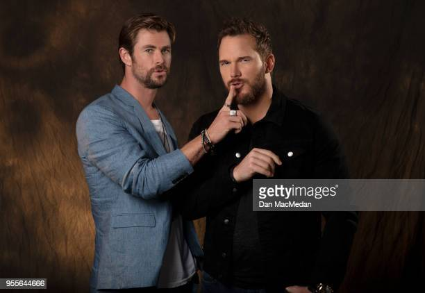 Actors Chris Hemsworth and Chris Pratt are photographed for USA Today on April 22, 2018 in Beverly Hills, California. PUBLISHED IMAGE.