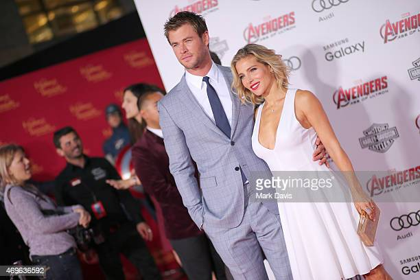 Actors Chris Hemsworth and his wife Elsa Pataky attends the premiere of Marvel's 'Avengers Age Of Ultron' at Dolby Theatre on April 13 2015 in...
