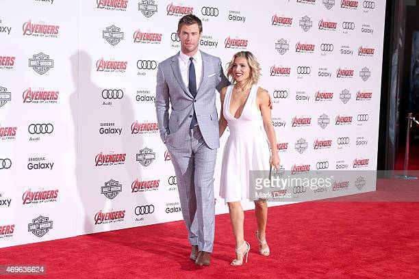 Actors Chris Hemsworth and his wife Elsa Pataky attends the premiere of Marvel's Avengers Age Of Ultron at Dolby Theatre on April 13 2015 in...