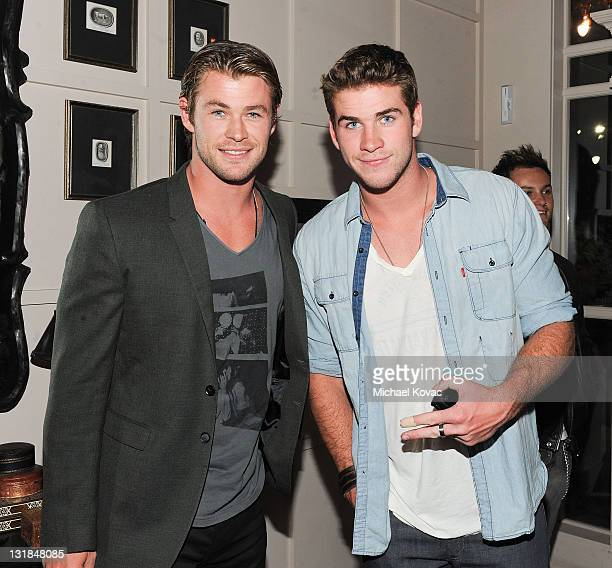 Actors Chris Hemsworth and Liam Hemsworth celebrate Liam Hemsworth's Birthday Party at Cleo at the Redbury Hotel on January 14, 2011 in Los Angeles,...