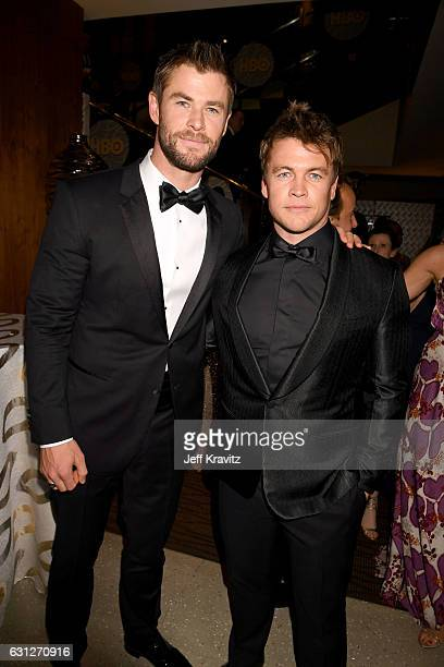 Actors Chris Hemsworth and Luke Hemsworth attend HBO's Official Golden Globe Awards After Party at Circa 55 Restaurant on January 8 2017 in Beverly...