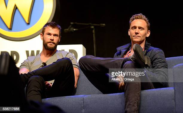 Actors Chris Hemsworth and Tom Hiddleston on day 3 of Wizard World Comic Con Philadelphia 2016 held at Pennsylvania Convention Center on June 4 2016...