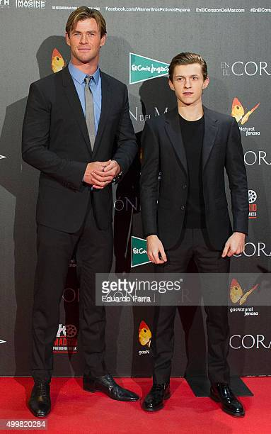 Actors Chris Hemsworth and Tom Holland attend 'En el corazon del mar' premiere at Callao cinema on December 3 2015 in Madrid Spain
