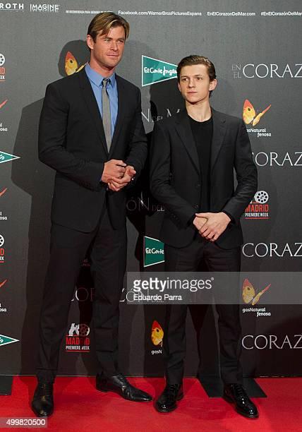 Actors Chris Hemsworth and Tom Holland attend 'En el corazon del mar' premiere at Callao cinema on December 3 2015 in Madrid Spain