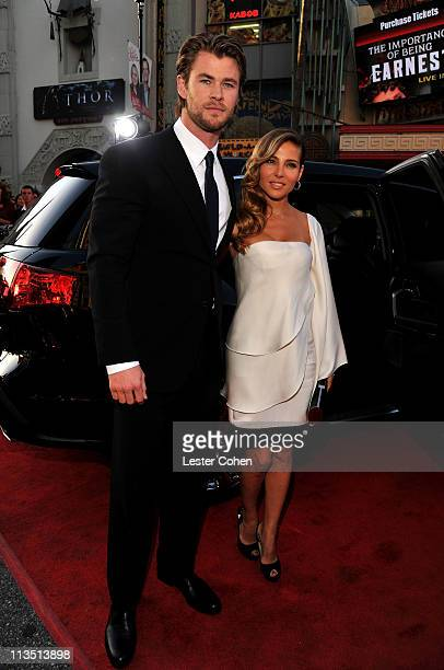 Actors Chris Hemsworth and wife Elsa Pataky arrive at the Los Angeles premiere of Thor at the El Capitan Theatre on May 2 2011 in Hollywood California