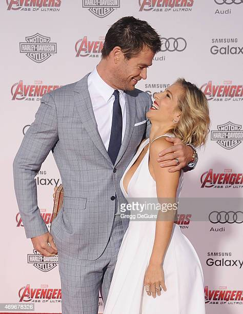 Actors Chris Hemsworth and wife Elsa Pataky arrive at the Los Angeles premiere of Marvel's Avengers Age Of Ultron at Dolby Theatre on April 13 2015...