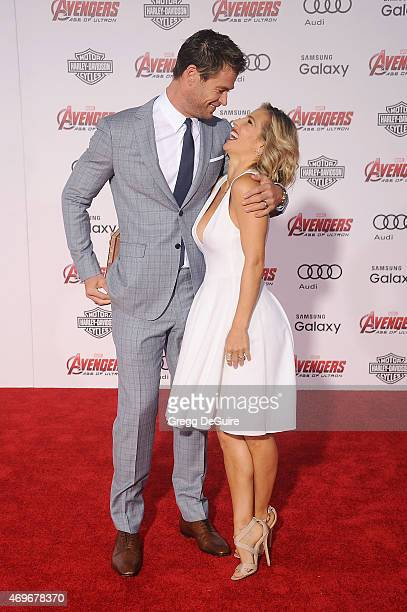 """Actors Chris Hemsworth and wife Elsa Pataky arrive at the Los Angeles premiere of Marvel's """"Avengers: Age Of Ultron"""" at Dolby Theatre on April 13,..."""